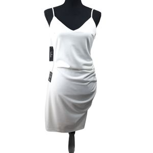 NWT Lulu's Au Courant White Ruched Bodycon Dress L